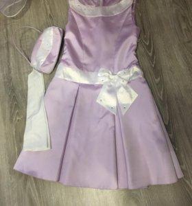Платье нарядное с перчатками и сумочкой