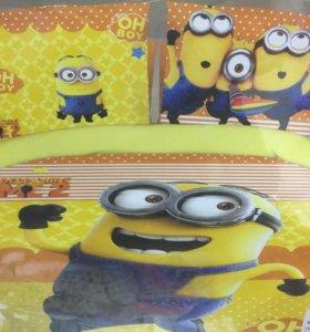 Миньон - детское постельное белье желтое Сатин