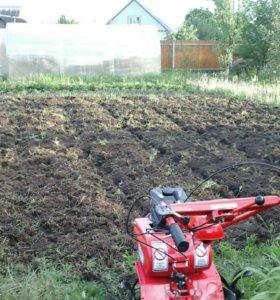 Вспашка мотоблоком, покос травы