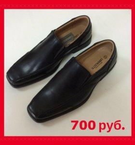 Туфли мужские новые 40-46 чёрные ботинки италия