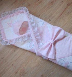 Одеяло-конверт на выписку для девочки.