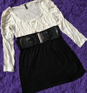 Платье мини с поясом на талии