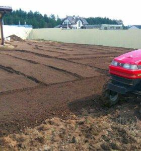 Вспашка, подготовка почвы под газон Минитрактором