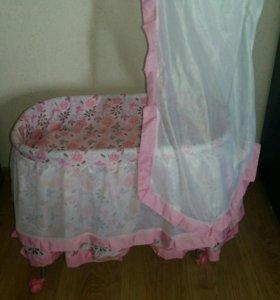 Детская кукольная кроватка-люлька (