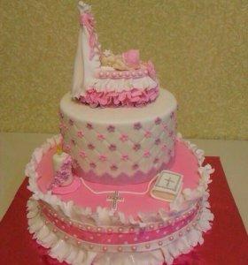 Крестины. Торт на заказ. Крестильный тортик.