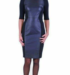 Платье (италия) с вставками из натуральной кожи