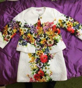 Костюм (платье+жакет) на девочку 6-7 лет, Monsoon
