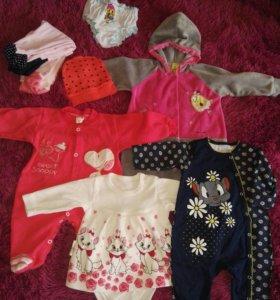 Пакет одежды для девочки 2-6 месяцев