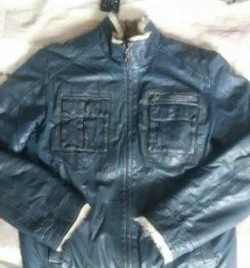 Куртка коженная с натуральным мехом