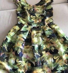 Летнее платье с атласным поясом