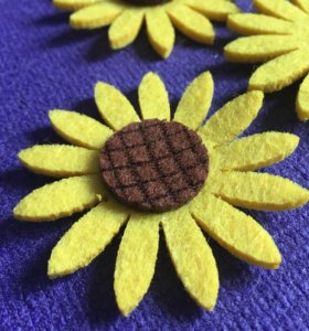 Цветы из фетра 3шт цветочки подсолнухи 60 мм