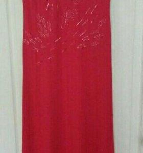 Платье жен, длинное, 48, вышивка бисером