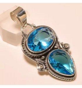 Кулон серебро камень Аквамарин