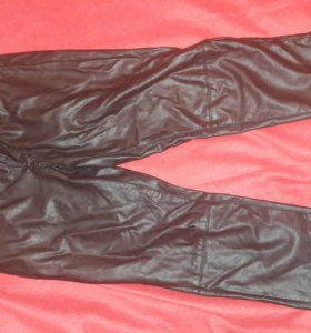 Кожаные штаны брюки зимние рок