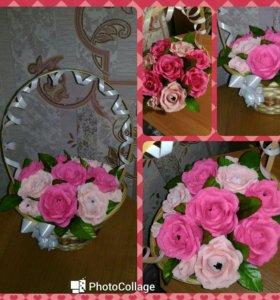 Корзины и букеты с цветами из конфет