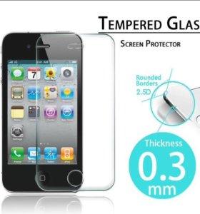 Два защитных стекла(перед и зад) на iPhone 4