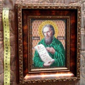 Икона Святой Алексей с камнями сваровски