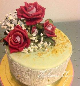 Торт на заказ, сахарные цветы