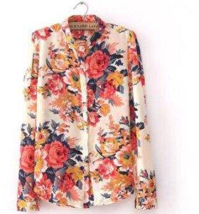 Блузка шифоновая с цветами