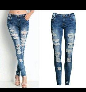 Новые джинсы стрейч рваные 44-46 28