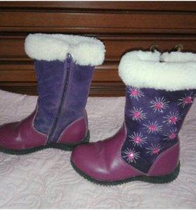 Детские зимние кожаные сапоги