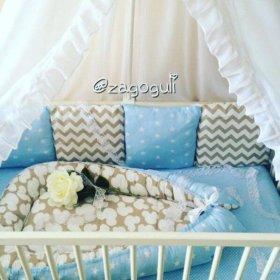 Комплект в кроватку Бортики, кокон, простыня