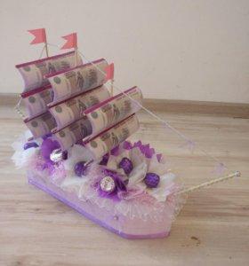 Корабль подарочный на свадьбу или другое торжество