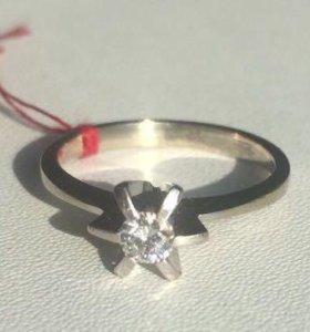 Кольцо белое золото 585 Бриллиант 0,3 карата