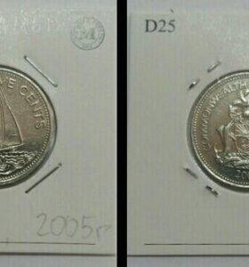 Монета 25 центов, Багамы, 2005г.