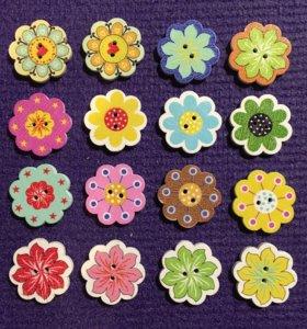 Цветочки 4шт деревянные пуговицы скрап декор