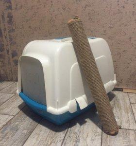 Кошачий туалет 'дом' + когтеточка