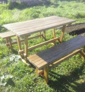 Деревянная мебель для дома, дачи (стол, лавочки, с