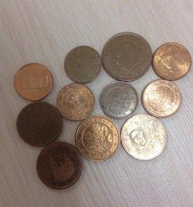 Монеты евро,11 штук