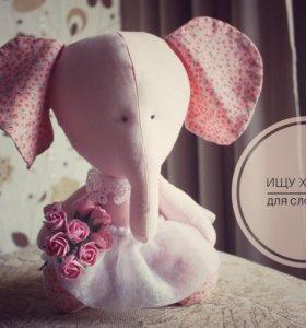 Мягкая игрушка слоник ручной работы