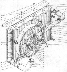 Радиатор вентилятор корпус в сборе Волга 31105