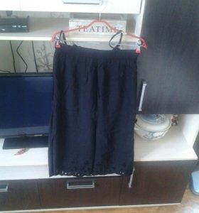 Льняное чёрное платье с перфорацией