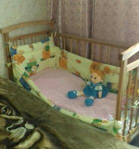 Детская кроватка маятник-качалка с матрасом