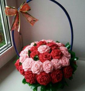 Корзинка с розами. Цветы из бумаги.
