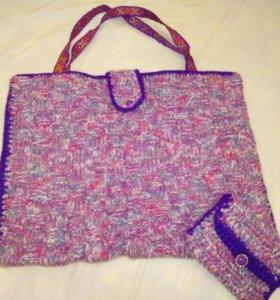Вязаная сумка + кошелёк в подарок