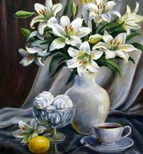 Картина по номерам - натюрморт с лилиями
