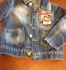 Детская джинсовая куртка на 2-3 года 92-98рост б/у