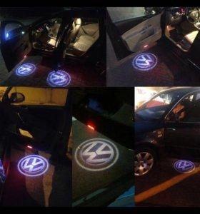VW дверь подсветка с логотипом