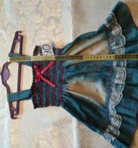 Сарафан джинсовый (86-92)платье,одежда,вещи