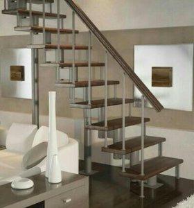 Модульная(металл) лестница с прямым маршем