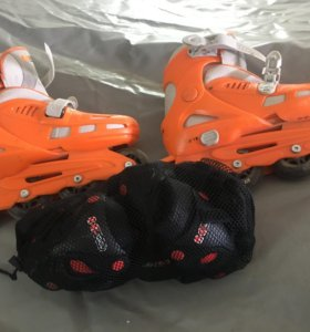 Роликовые коньки (размер 34-37) + комплект защиты
