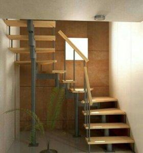 Лестница с поворотом на 180 градусов, на металле.