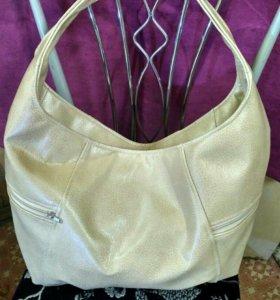 Дизайнерская сумка-баул из натуральной кожи