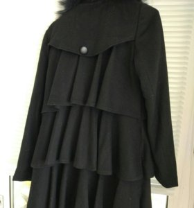 Пальто с мехом (черное)