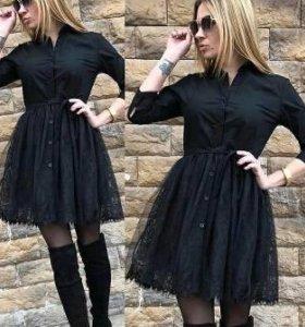 Рубашка платье черное тюль💕