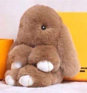 Брелок кролик 🐰 коричневый натуральный мех